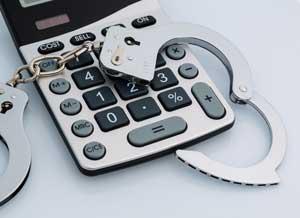 Steuerhinterziehung Handschelle Taschenrechner