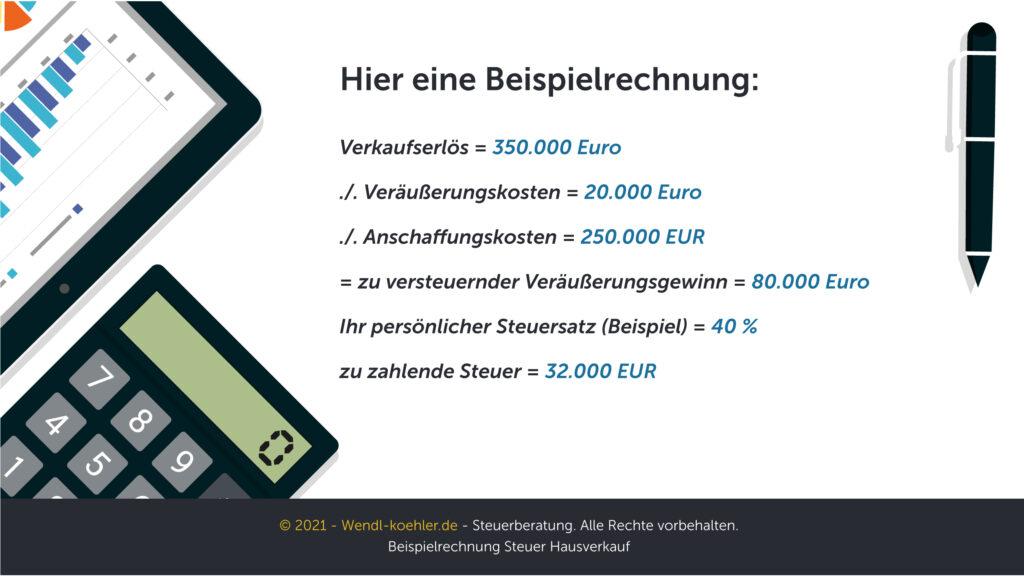 Beispielrechnung Steuer Hausverkauf